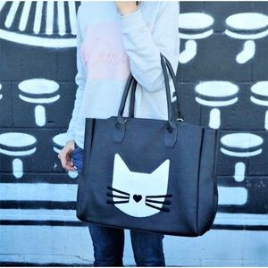 Cat - Large Black Tote Bag 🐱